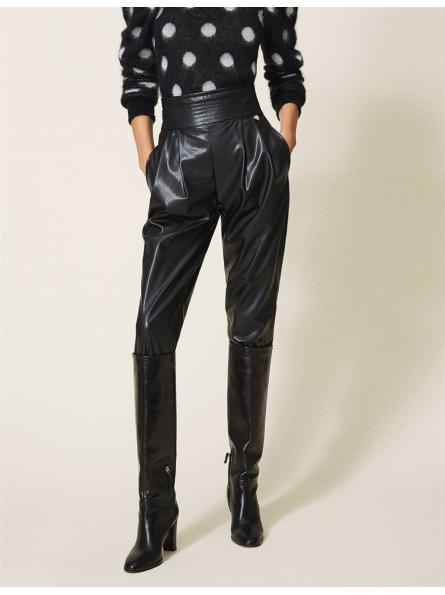 Pantalon taille haute en similicuir Twinset