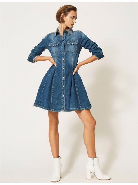 Robe courte trapèze en jean Twinset