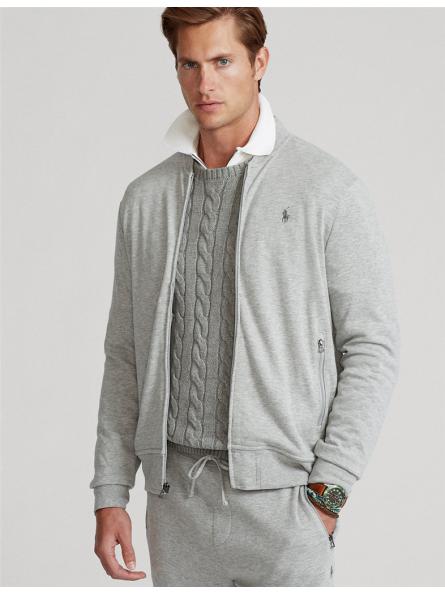 Gilet zippé baseball en jersey Polo Ralph Lauren gris chiné