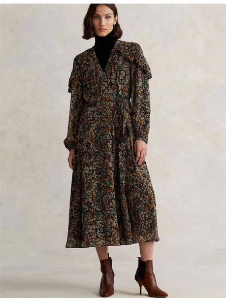 Robe portefeuille fleurie avec volants Polo Ralph Lauren