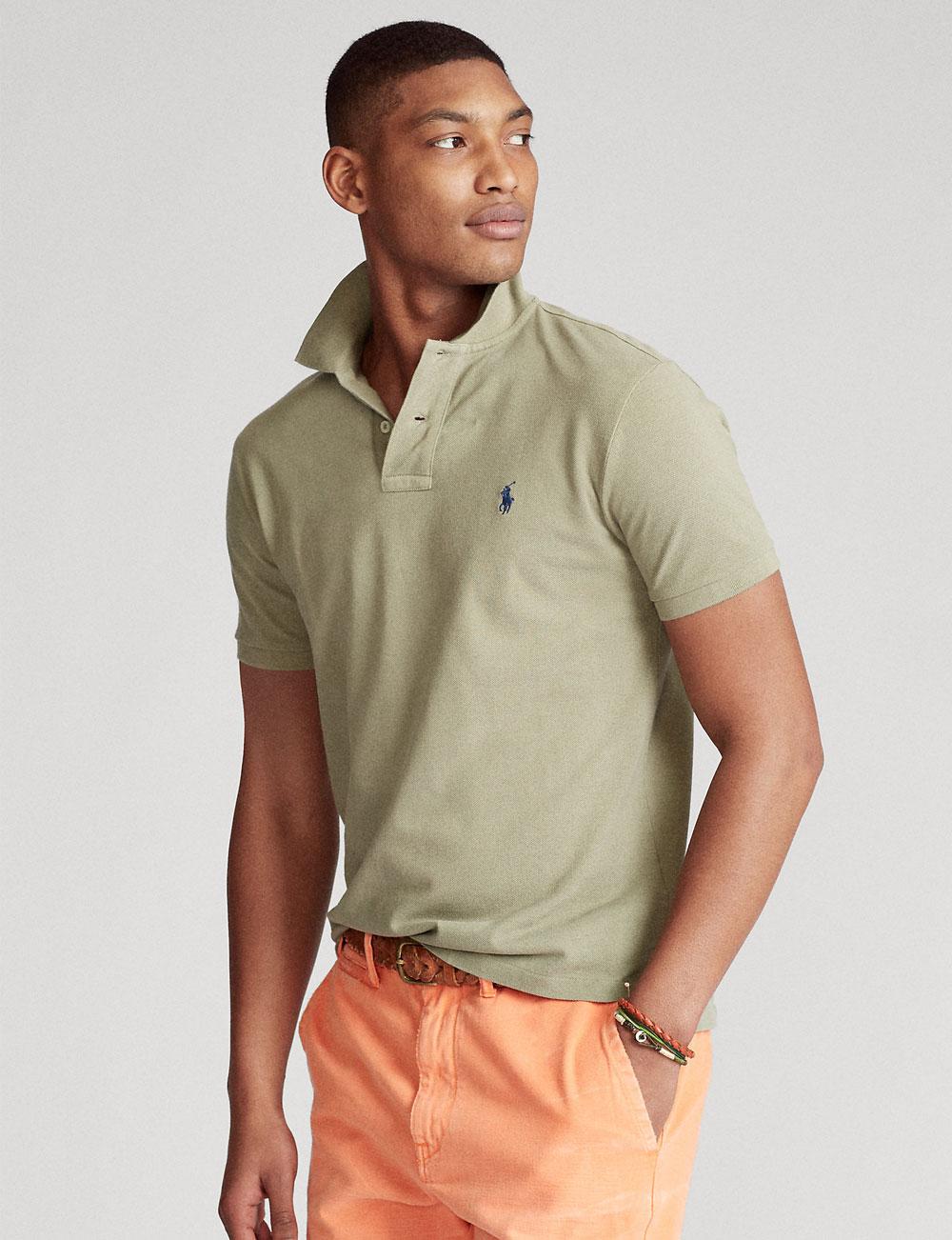 Fête des pères : polo manches courtes cintré olive clair pour homme Polo Ralph Lauren