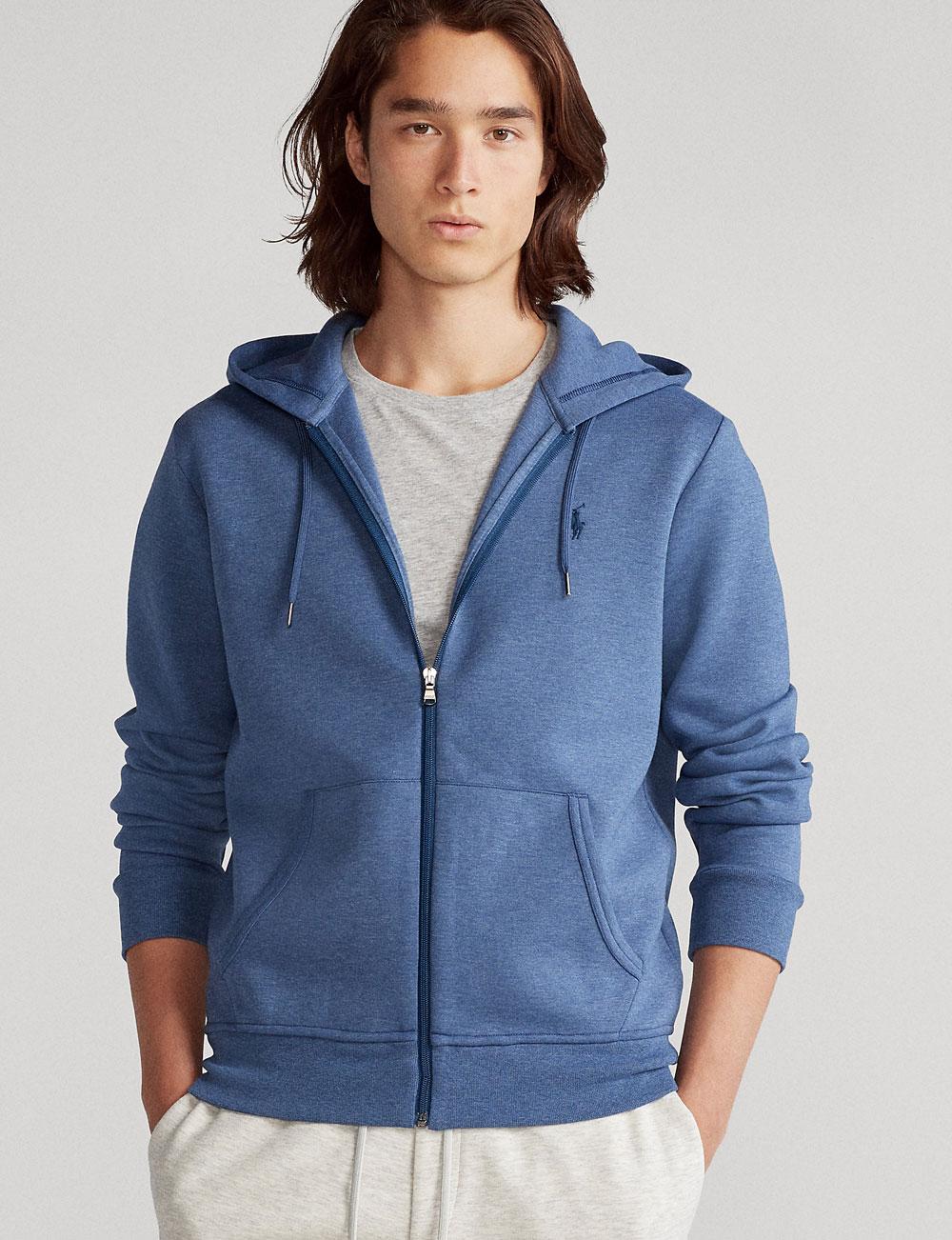Fête des pères : veste zippée à capuche bleu pour homme Polo Ralph Lauren