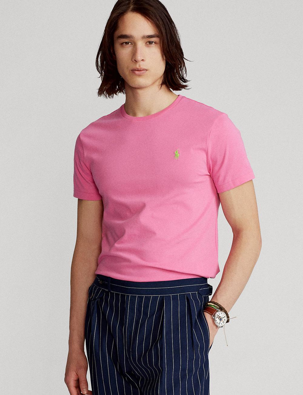 Fête des pères : t-shirt manches courtes rose pour homme Polo Ralph Lauren